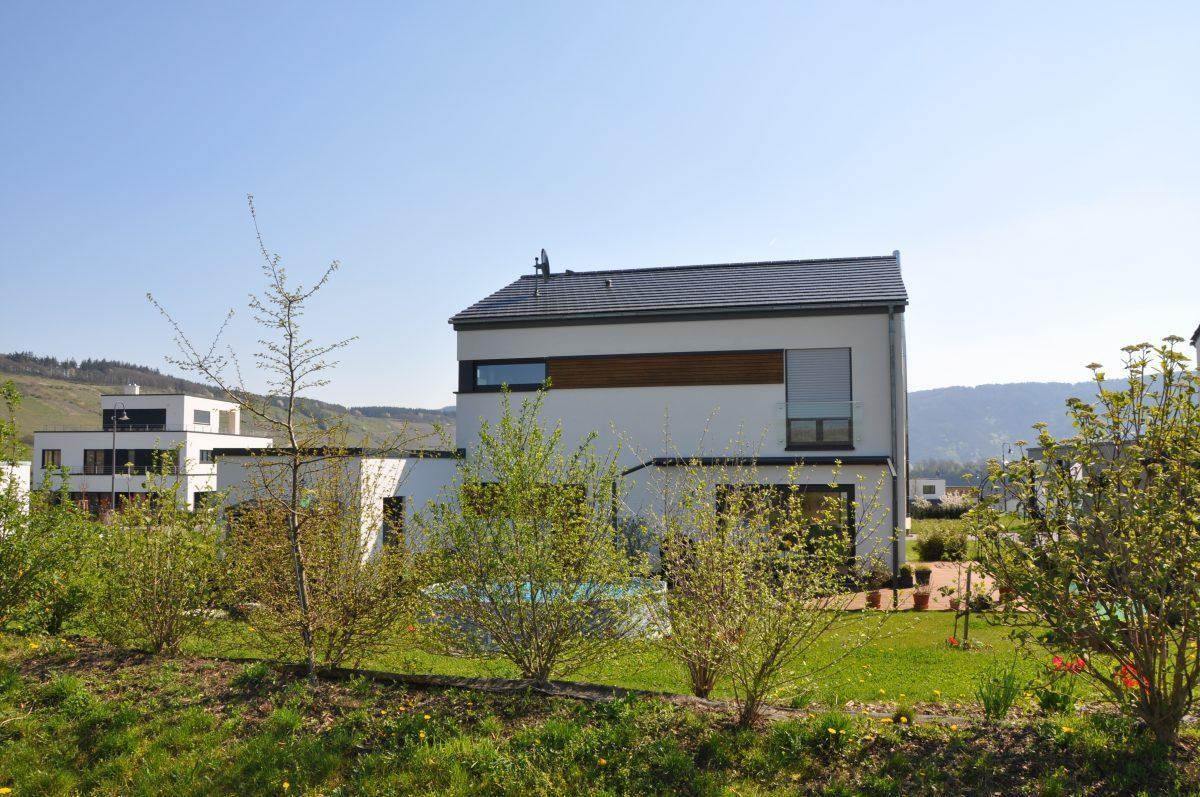 Einfamilienhaus mit flachem Satteldach mit besonderer Fassadengestaltung mit Holzplanken