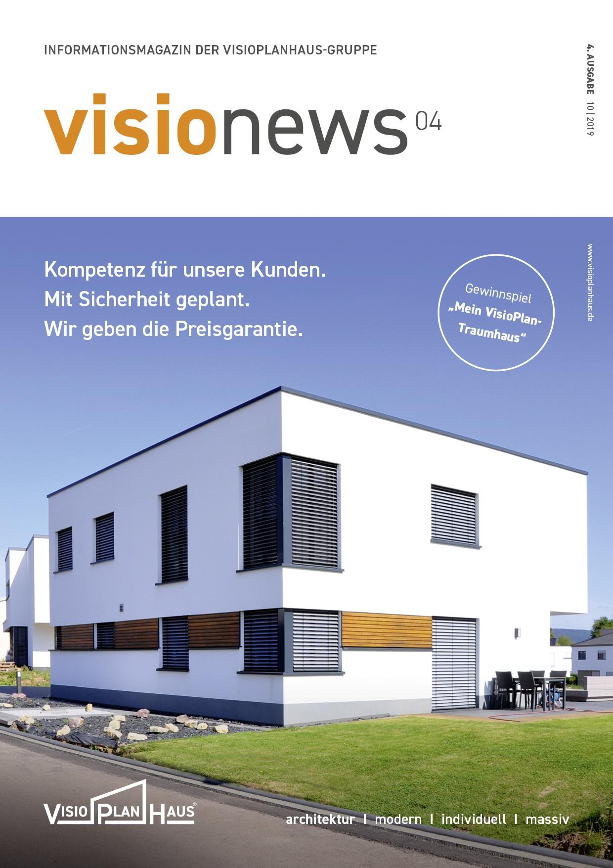 Cover visio news, Informationsmagazin des Visioplanhaus, 4. Ausgabe 2019