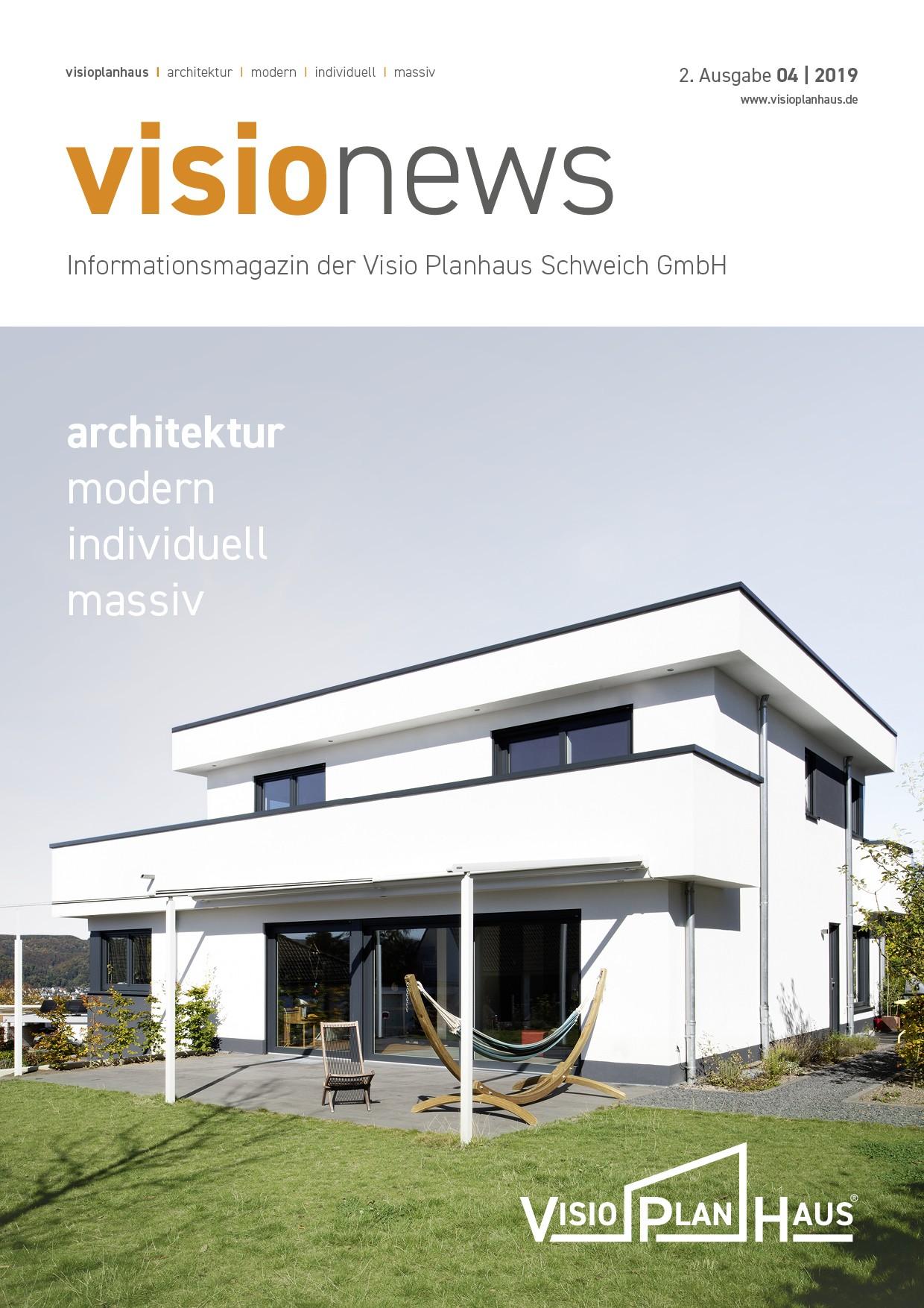 Cover visio news, Informationsmagazin des Visioplanhaus, 2. Ausgabe 2019